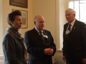 HRH The Princess Royal addresses members flanked by Secretary, Richard Lutwyche and President, Dave Overton.