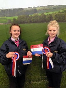 Ella kirtley & Sarah Whitley with the Birchfield Champion rosettes at RTC 2015